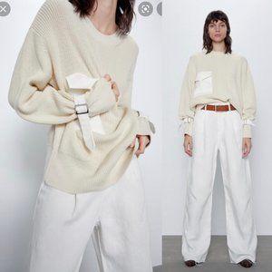 Zara Oversized Chunky Knit Cotton-Blend Sweater with Pocket, Size S, Cream White